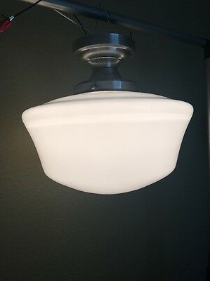 Vintage Brushed Chrome Light Fixture School House Globe Milk Glass Wired