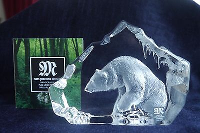 Mats Jonasson Crystal Glass Paperweight Wildlife Polar Bear - 33598