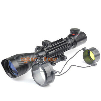 4-12X50EG Mil Dot Rifle scope Illuminated Recticle Green&Red Cross Mounting
