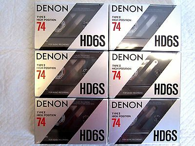 CASSETTE TAPES BLANK SEALED - 6 x (six) DENON HD6S 74 [1990-91] - MADE IN JAPAN