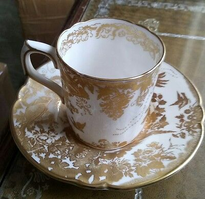 Royal Crown Derby gold Aves coffee cup and saucer