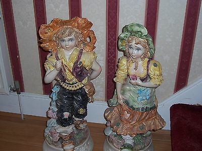 capodimonte boy and a girl large floor display.