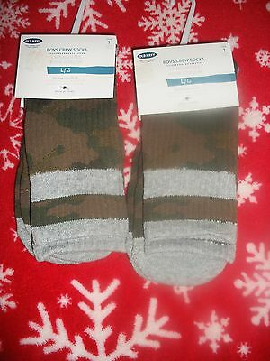 Old Navy Boy's 2 Pair Crew Socks- Green Camouflage-Large(3Y-9Y)-New