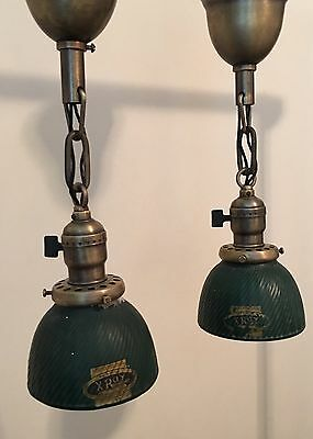 "14.5"" Brass Pendant Lights With Miniature Rare Xray Shades X-ray Globes"