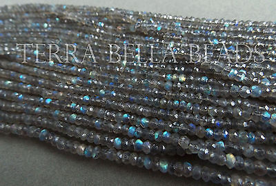 """13"""" AAA LABRADORITE faceted gem stone rondelle beads 3.5mm blue green gold"""