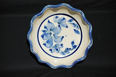 Polly Pottery Boulder Colorado Ruffled Pie/Casserole Floral Blue on Beige
