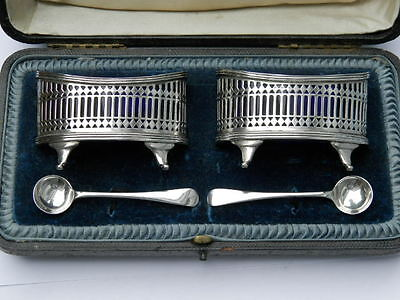 Boxed pair of Stunning Silver Salts Stokes & Ireland Ltd Chester 1905