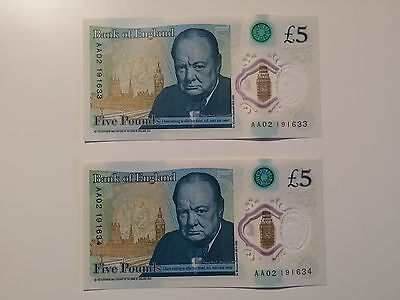 2  Serial Aa02 Consecutive Notes - Brand New Polymer £5 Five Pound Notes