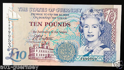 Very High Number States Of Guernsey £10 A9999 53 First Run Trestain Mint Unc.