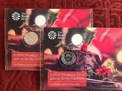 Royal Mint Silver Christmas Sixpence 2016