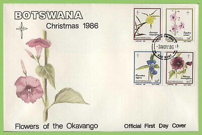 Botswana 1986 Flowers of The Okavango, Christmas set on First Day Cover