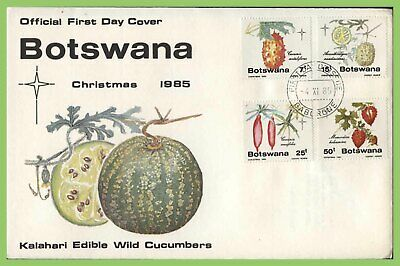 Botswana 1985 Edible Wild Cucumbers, Christmas set on First Day Cover