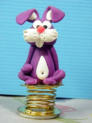 Shaking Rabbit Car Dashboard Funny Bobble Polymer Clay Sculpted Novelty #05