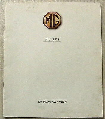 MG RV8 SPORTS CONVERTIBLE Car LF Sales Brochure 1992 #4405