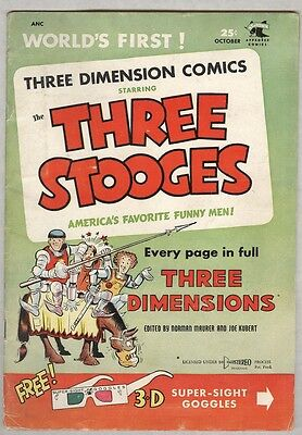 Three Stooges Three Dimension Comics #2 October 1953 VG has glasses