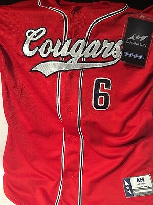 Garb Athletics Baseball Jersey Dri Fit Cougers Adult Medium Red