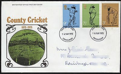 GB: Country Cricket, 1873-1973; First Day Cover (FDC)