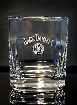 Jack Daniels Old No.7 Brand Sq. Etched Scotch Whiskey Glass