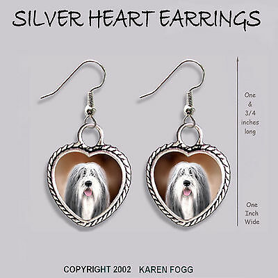 BEARDED COLLIE DOG - HEART EARRINGS Ornate Tibetan Silver