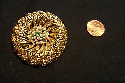 Vintage Gold Tone Seed Pearl And Rhinestone Round Pin Brooch