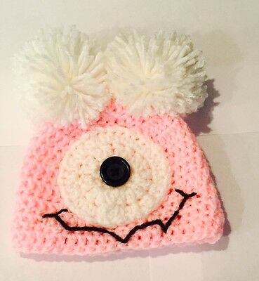 Newborn Silly Pink One Eye Baby Girl Monster Beanie Style Hat/Photo Prop
