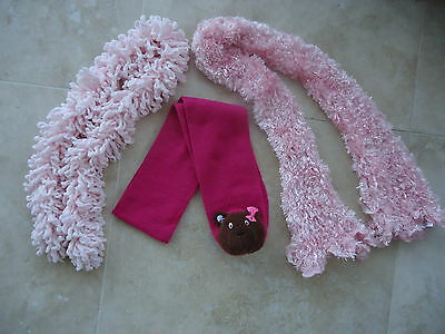 Girls' CLAIRE'S teddy bear scarf + pink scarf x 2  AGE 4-5-6-7-8-9-10