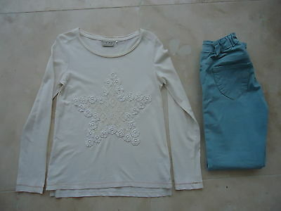 "NEXT  cream lace star design top + duck egg blue ""jeans"" M&CO AGE 9-10"