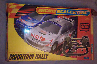 Micro Scalextric Mountain Rally set with Peugeot WRC cars