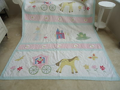 NEW Girls Fairytale Cinderella singe double quilt bedspread throw cover
