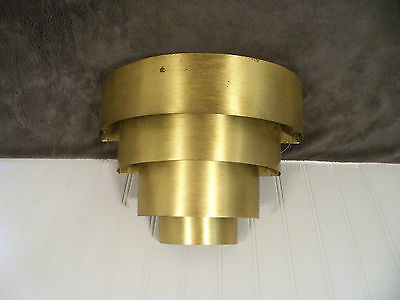 Vintage Metal Exterior Stepped Sconce Wall Fixture Unusual Retro Mid Century