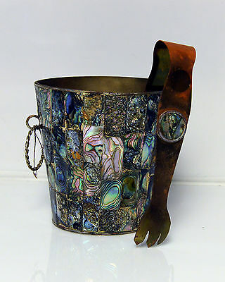 Vintage Abalone Ice Bucket and Tongs c1950's Mexico Alpaca Silver