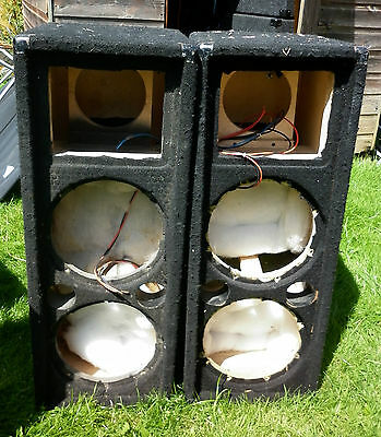 "Unloaded 2 x 10"" and compression driver speaker boxes"