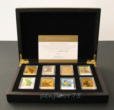 2009 Australia Songbirds 9ct Gold-foil Stamps in Case - Song Bird Collection