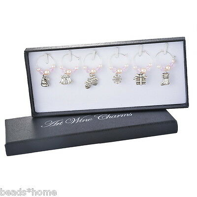 6 PCs/1 Box Christmas Mark Ring Wine Glass Charms Pendant Table Decorations