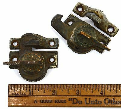 Antique CAST IRON & BRASS WINDOW LOCK Lot of 2 ORNATE SASH LOCKS Latches c.19th