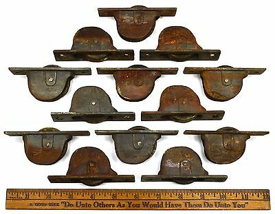 Antique CAST IRON WINDOW SASH PULLEY Lot of 13 Pulleys HEAVY DUTY ROLLERS Patina