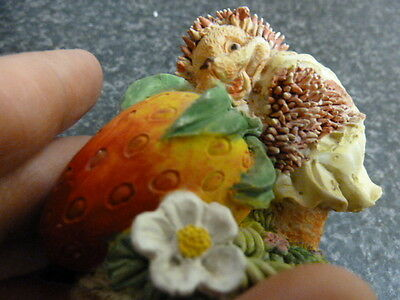 """10338) Gorgeous little figure - hedgehod w large strawberry 2.5"""" x 3"""" Lovely"""