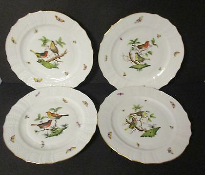 4X Herend Rothschild Dinner Plates 1527 Ro  10 3/4 In.    Second Quality  As-Is