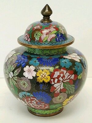 """Quality Antique Chinese Cloisonne Covered Jar 7.25"""" tall"""