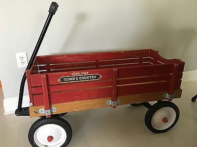 Vintage Antique Radio Flyer Town And Country Kids Wood Wagon w/ Wood Panel Box