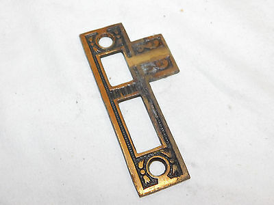 Antique Victorian Eastlake Brass Door Strike Plate - 1885 Architectural Salvage