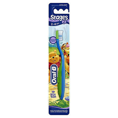 Oral B Stages 2 Toothbrush 2-4 Years Winnie The Pooh Extra Soft Blue & Green