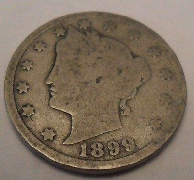 "1899 P Liberty Head ""v"" Nickel   **free Shipping**"