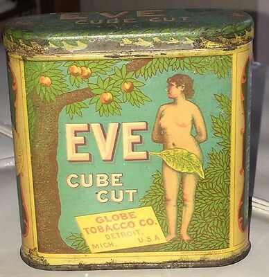 EVE Cube Cut UPRIGHT POCKET TOBACCO TIN CAN Globe Tobacco Co Detroit Mich