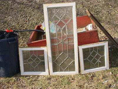 Set of 3 Vintage Original Handsome Leaded & Beveled Glass Windows XLNT Condition