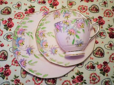 ART DECO China TUSCAN Trio HAND PAINTED Pink VINTAGE Floral GORGEOUS