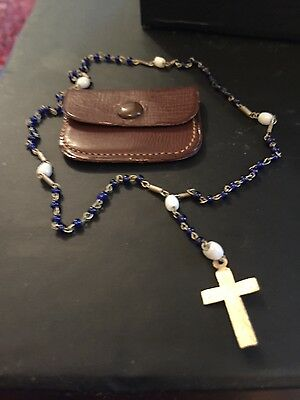 antique childs rosary  deep blue and milk glass in leather pouch