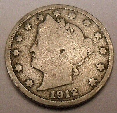 "1912 P Liberty Head ""v"" Nickel  **free Shipping**"