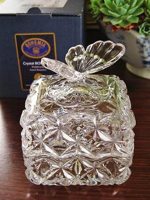 Bohemia Crystal trinket box with BUTTERFLY decoration boxed NEW.