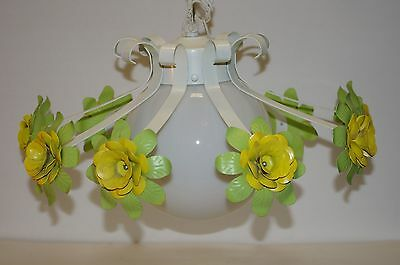 Estate Vintage Tole Toleware Metal Flower Floral Hanging Ceiling Lamp Chandelier